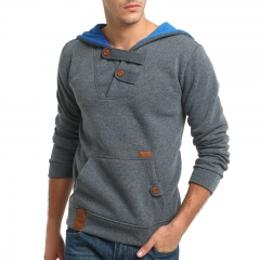 2017 New Style Male Fashion Color Contrast Hat Casual Sweater Pin Sweater Coat dark grey size 3xl 80 to 88kg