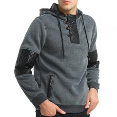 2017 New Men Fashion Skin Hat Coat Man Long Sleeved Sweater dark grey size 3xl 80 to 88kg