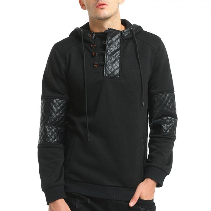 2017 New Men Fashion Skin Hat Coat Man Long Sleeved Sweater black size m 50 to 58kg