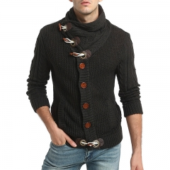 2017 New Male Ox Horn Wool Twisted Sweater Long Sleeve Thicken Cardigan Sweater dark grey size 2xl 72 to 80kg