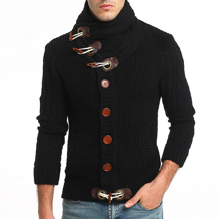 2017 New Male Ox Horn Wool Twisted Sweater Long Sleeve Thicken Cardigan Sweater black size m 50 to 58kg