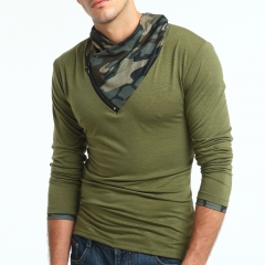 2017 New Style Male Fashion Camouflage Solid Color Long Sleeve T Shirt Big Code Base Shirt army green size 3xl 80 to 88kg