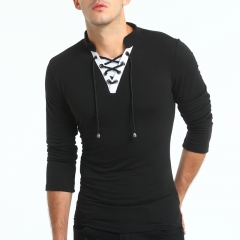 2017 New Style Men V Neck Tie Wrap Color Contrast Long Sleeves T Shirt black size m 50 to 58kg