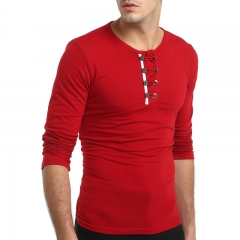 2017 New Men's Personality Buttons Solid Color Long Sleeved Slim T Shirt red size m 50 to 58kg