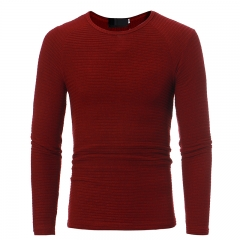 2017 Autumn Winter New Foreign Trade Moldbaby Round Neck Cross Striped Elastic Sweater red size 3xl 80 to 88kg