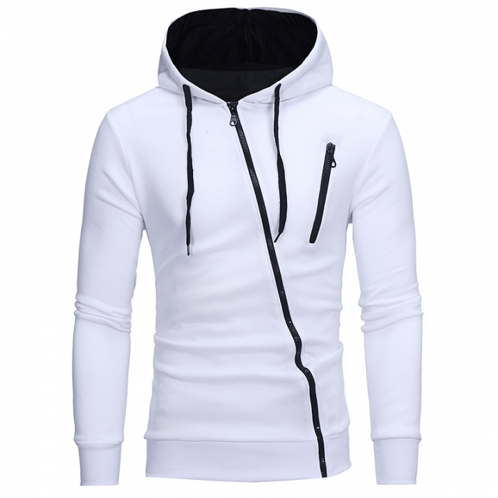 2017 New Style Features Oblique Zipper Men's Leisure Self Cultivation Cardigan Sweater white size m 50 to 58kg
