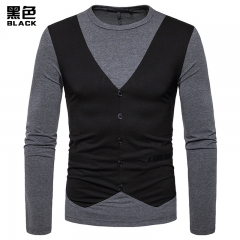 2017 New Pierced Men's Long Sleeved Fake Two Pieces Round Collar T-shirt black size s 50 to 58kg