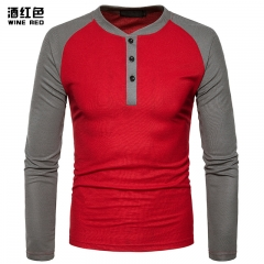2017 New Pierced Man Henry Coloured Blue Patchwork Long Sleeve Big Size T-shirt wine red size s 50 to 58kg