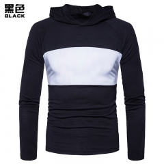 2017 New Pierced New Blue Patchwork Set Head Hooded T-shirt black size s 50 to 58kg