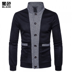 2017 New Pierced Men's Classic Cuff Placket Hit Color  Cardigan Knitwear black size s 50 to 58kg