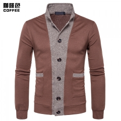 2017 New Pierced Men's Classic Cuff Placket Hit Color  Cardigan Knitwear coffee size 2xl 80 to 88kg
