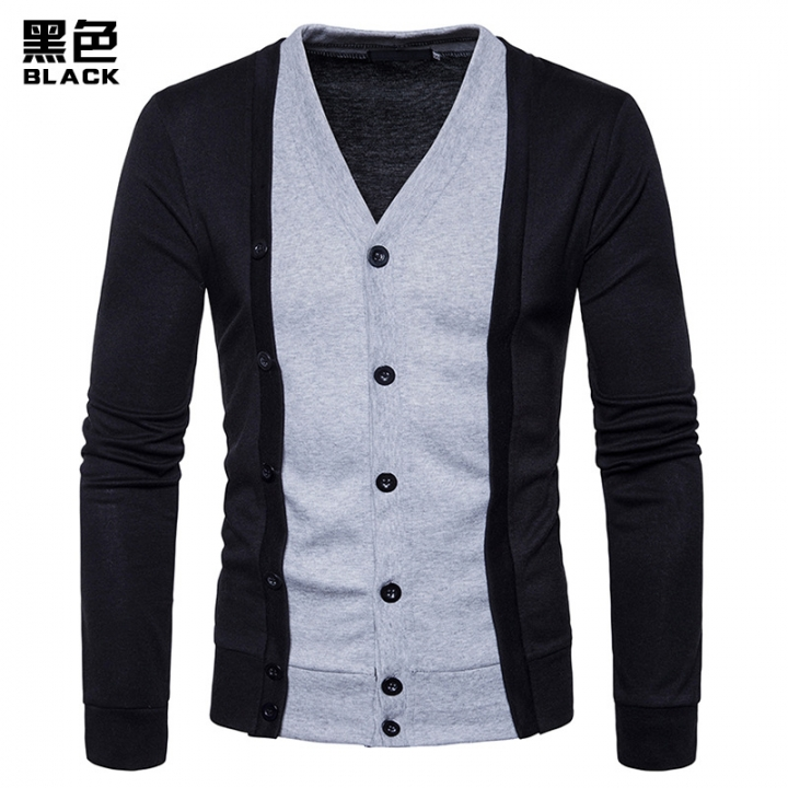 2017 New Pierced Fashion For Men Contrast Color Long Sleeve Two False Pieces Cardigan Coat black size s 50 to 58kg