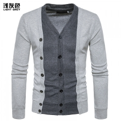 2017 New Pierced Fashion For Men Contrast Color Long Sleeve Two False Pieces Cardigan Coat light grey size 2xl 80 to 88kg