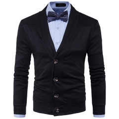 2017 New Style Lapel Man Solid Color  Split Joint Long Sleeved Knitted Sweater black size s 45 to 50kg