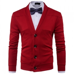 2017 New Style Lapel Man Solid Color  Split Joint Long Sleeved Knitted Sweater red size 2xl 72 to 80kg