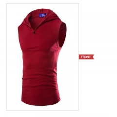 2017 Men's Hooded Stretch Cotton Sweat Vest Slim Bottoming Vest wine red size m 55 to 65kg