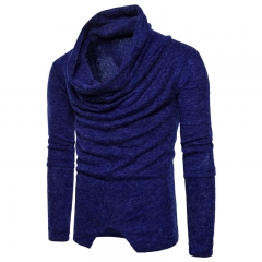 2017 Men's Personality False Pullover Wear Sweater Knitted Sweater sapphire blue size 2xl 72 to 80kg