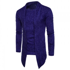 2017 Men's personality Fake Two Pieces Thickened Sweater Cardigan Sweater Knitting Shirt sapphire blue size 2xl 72 to 80kg