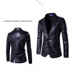 2017 Personality One Button Suit Leopard Print Suit Best Man Dress Performance Suit black size m 45 to 52