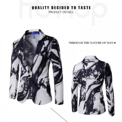 2017 Personality A Buckle Suit Ink Printing Suit Best Man Dress Performance Clothes white size m 45 to 52