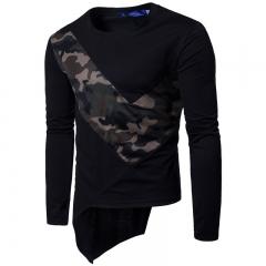 2017  Stretch Cotton Net Cloth Splicing Men's Long Sleeve T-shirt black size m 58 to 65kg