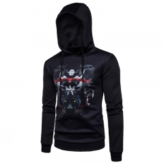 2017 Men Set Leopard Hooded Sweater Digital Printing Air Layer black size s 50 to 58kg