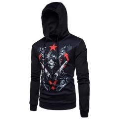 2017  Men Head Digital Printing Hooded Sweater Orangutan Air Layer black size s 50 to 58kg