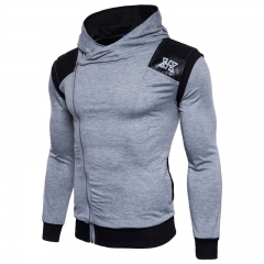 Cable Zip Hooded Spell Leather Printing Exercise Men Sweater light grey size 3xl 80 to 88kg