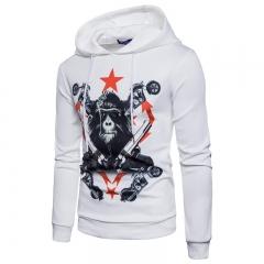 2017  Men Head Digital Printing Hooded Sweater Orangutan Air Layer white size 2xl 80 to 88kg