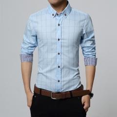GustOmerD Men Clothes Slim Fit Men Long Sleeve Shirt Men Plaid Cotton Casual Men Shirt Light blue size m 50 to 58kg