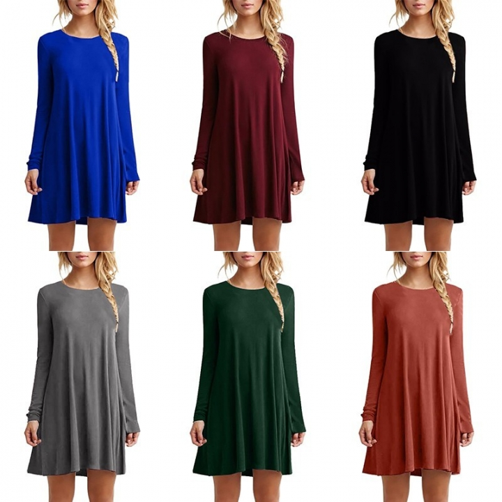 74e72990b853 Women Long Sleeve Casual Loose Black Dress Autumn Winter Sexy Pleated Mini  Party Dresses red m