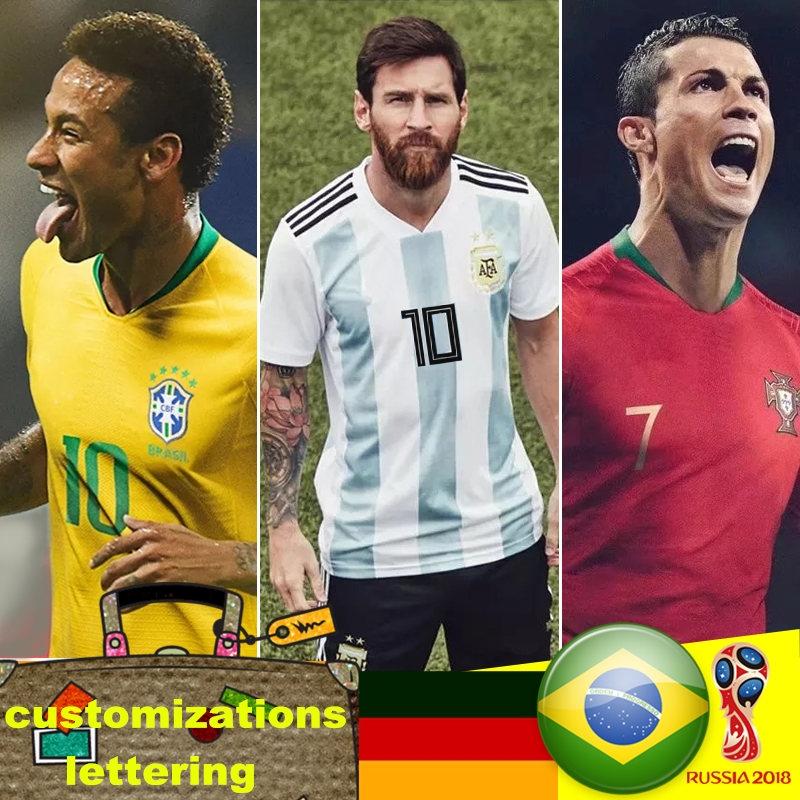 new product 15ec5 c44df 2018 World cup Messi Cristioano Ronaldo Nehwal national team jersey  football uniform size S-4XL