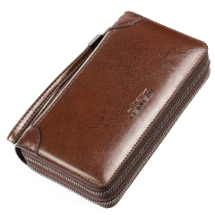 Men's Zipper Wallet Hand Bag Casual Business Brown OSFM