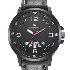 Wrist Men Watch Quartz with Leather PU Band Fashion Calendar Business Green