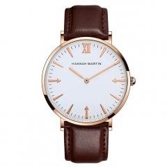 Simple Elegant Quartz Watch Silicone Men Sports Watches Casual Calendar Brown(Rose Gold)