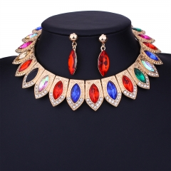 Creative Colorful Necklace Pendant Sets Chains Stud Earring Crystal Drop colorful osfm