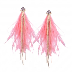 Delicately Tassel Earrings String Pendant Drops Feather Material Pink osfm