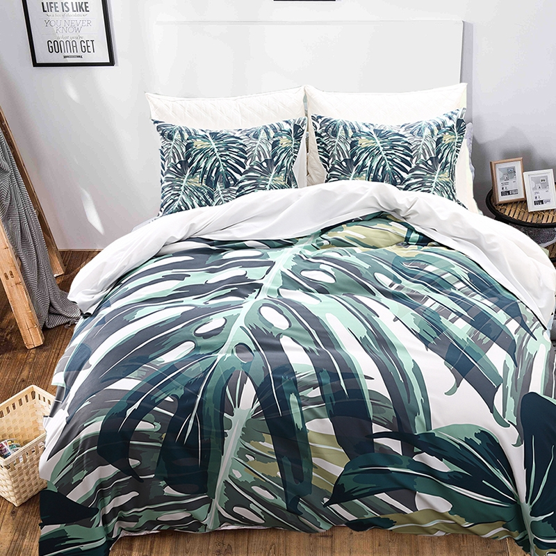 Tropical Plants Bedclothes Duvet Cover 100% Polyester Pillowcase Family  Sleeping Goods Tropical Plants king