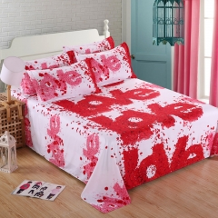 Nature Skin-friendly Polyester 4pcs Duvet Cover Sheet Bed Linen Bedclothes Pillowcase 3D Rose-1 Twin