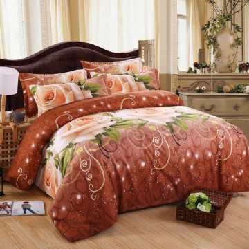 Nature Skin-friendly Polyester 4pcs Duvet Cover Sheet Bed Linen Bedclothes Pillowcase 3D Rose-21 King