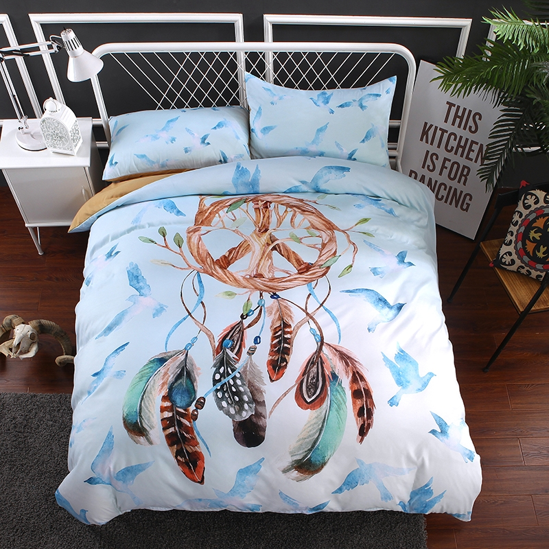 Dreamcatcher Natural Skin Soft Consise Duvet Cover Bed Sheet Pillow Case  Family Dreamcatcher-9 twin