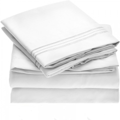 Consise Pure Color 100% Polyester 4pcs Duvet Cover bed Fitted sheets pillowcase Pure Sheet-1 twin