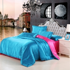 Pure Silk Color Luxury 4pcs Bedding Set Duvet Cover Pillow Case Bed Sheet Pure Silk-1 twin
