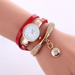 Women Leather Rhinestone Analog Metal Decorative Bracelet Wristwatches Lady Pendant Quartz Watches Red