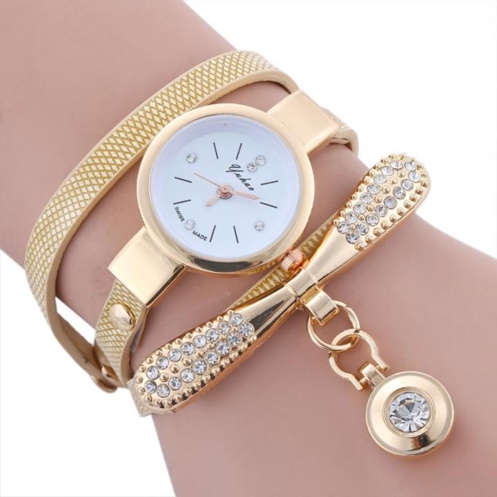 Women Leather Rhinestone Analog Metal Decorative Bracelet Wristwatches Lady Pendant Quartz Watches Beige