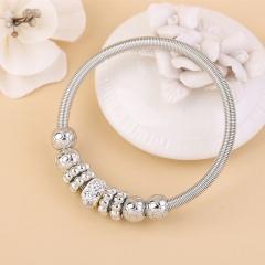 Europe and USA Popular Jewelry Bracelet Women Rhinestone Alloy Decor Fashion Bracelets silver one size
