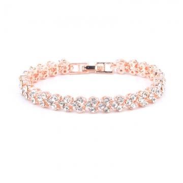 Women Full Rhinestone Crystal Alloy Bracelet Ladies Decor Exquisite Hand Chain Jewellery Rose Gold 16.5cm