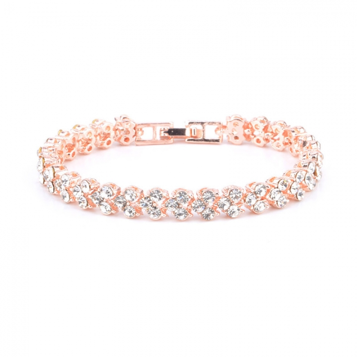 Women Full Rhinestone Crystal Alloy Bracelet Ladies Decor Exquisite Hand Chain Jewellery Rose Gold 16.5cm