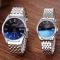 SBAO Couple Watch Stainless Steel Watchband Waterproof Calendar Lovers Quartz Watches Black for Men
