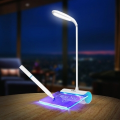 Licer Rechargeable Folding Led Message Board Desk Lamp 3 Modes Dimmable Eye Protection Reading Lamp Blue 35cm 1.7w